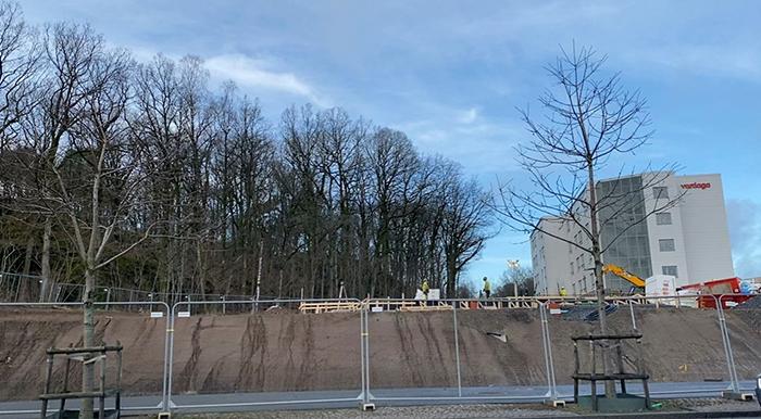 Bygget pågår på Titteridammsvägen